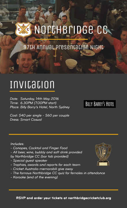 Presentation Night 2015/16 Season